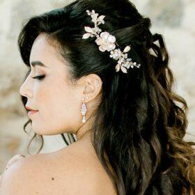Accessoire cheveux mariage bohème bijou coiffure fleurs perles Daniela