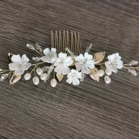 """Bijou cheveux mariage romantique accessoire coiffure fleuri """"Noélia"""""""