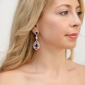 Boucles d'oreilles mariage bleues chandelier en cristal Adeline