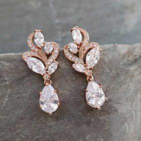 Boucles d'oreilles mariée rose gold pendentif cristal feuilles « Béatrice »
