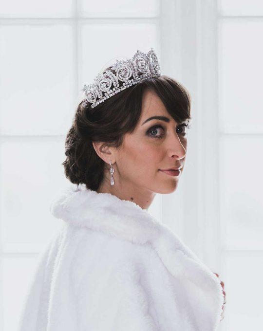 Couronne princesse mariage, diadème de luxe diamantée Olivia