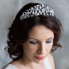 Diadème fleuri, accessoire de cheveux mariage en cristal Tatiana