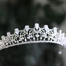 Tiare mariage argenté, diadème princesse Mila