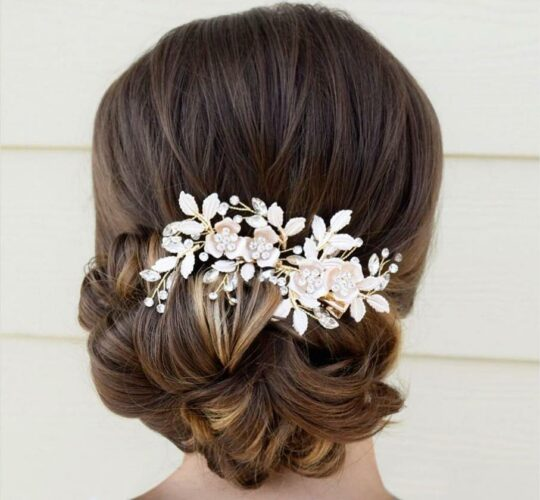 Bijou cheveux mariée fleurs, pince coiffure champêtre chic