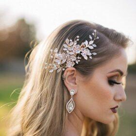 Bijou coiffure mariée fleurs feuilles, pince cheveux bohème chic « Lou »