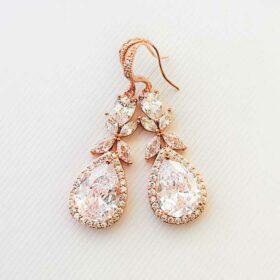 Boucles d'oreilles mariée rose gold pendantes cristal zircon « Ludmila»