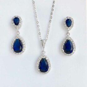 Parure bijoux de mariage cristal bleu en forme de goutte Giselle