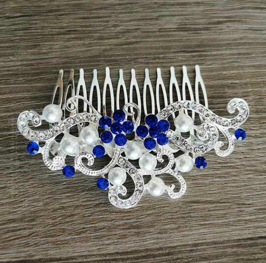 Peigne cheveux mariage fleurie touche bleu et perles « Rosabella »