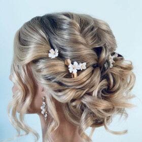 """Pics cheveux mariage fleurs feuilles dorés argentés """"Mélanie"""""""