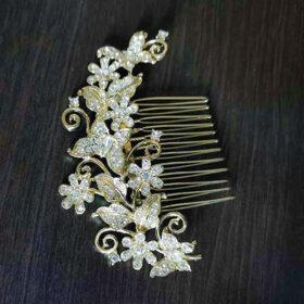 Peigne cheveux mariage doré, bijou coiffure papillons Carla